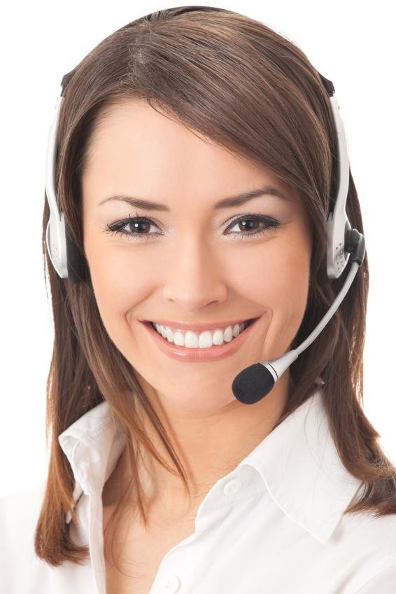 beautiful female receptionsist with headset